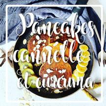cuisinouverte.com, pancakes au curcuma et cannelle. Sans sucre ni matière grasse. Sans lactose, sans gluten avec option vegan.