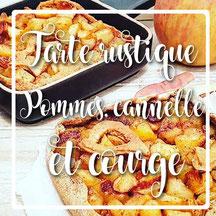 cuisinouverte.com, tarte rustique aux pommes, cannelle et courge. Vegan, sans sucre ajouté.