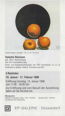 Einladungskarte EP-Galerie, Düsseldorf, Rückseite