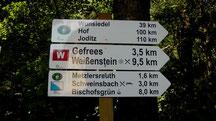 Wanderziel Weißenstein mit Aussichtsturm 661 m ca. 9,5 Km