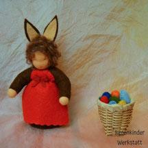 Blumenkinderwerkstatt Osterhasenkind mit Kiepe