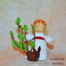 Blumenkinderwerkstatt Osterkind Häschen und Busch