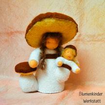 Blumenkinderwerkstatt Steinpilz mit Baby
