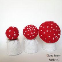 Blumenkinderwerkstatt Fliegenpilze drei Kegelpuppen