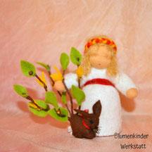 Blumenkinderwerkstatt Forsythienbusch mit Häschen