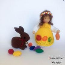 Blumenkinderwerkstatt Osterkind mit Hase und Eiern