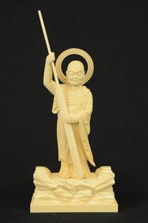 跋陀婆羅菩薩 桧 輪光背割寸4寸