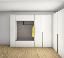 Flurschrank CAD-Entwurfsplanung - Garderobe über Eck mit offener Garderobennische in graumit Kleiderhaken u. Garderobenstange in schwarz matt,