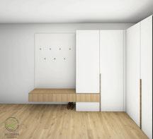 Garderobenchrank Entwurfsplanung - Garderobenschrank über Eck mit schwebender Sitzbank in Eiche u. weiß, Flurschrank in weiß u. Eiche mit Garderobenrückwand mit Kleiderhaken u. schwebender Sitzbank, 3D-CAD Planung offene Garderobe über Eck
