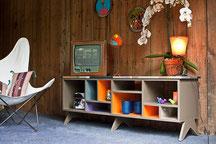 buffet, casiers, meuble télé, ameublement, bois, sur mesure, décoration
