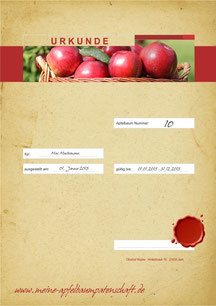 Apfelpatenschaftsurkunde