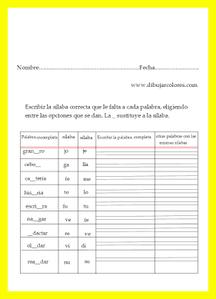 completar palabras con sus sílabas