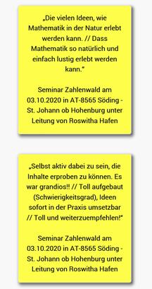 15.10.2020: Rückmeldungen der PädagogInnen zu unserem ersten Seminar Zahlenwald wurden in Deutschland online gestellt!