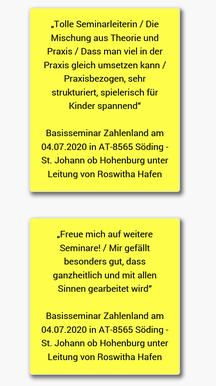 27.7.2020: Rückmeldungen der PädagogInnen zum Seminar Zahlenland 1 von Roswitha Hafen wurden in Deutschland online gestellt!