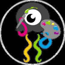 Button Kategorie Illustration Qualle mit Pinsel und Palette
