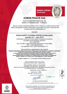 Sertifikalar ISO/FSSC 22000 Zertifikat DÜBÖR