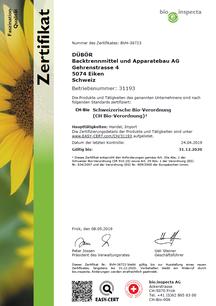 io.inspecta AG, nach CH Bio-Verordnung (ID-Nummer 31193), Zertifikat, certificate DÜBÖR, DÜBÖR TRENNAKTIV Bio 200, TRENNAKTIV Bio 400 Bio, organic, Trennmittel, Backtrennmittel, release, gültig bis 2019