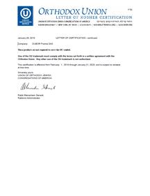 Kosher Zertifikat, DÜBÖR, Certificate, DÜBÖR TRENNAKTIV Bio 200, TRENNAKTIV Bio 400 Bio, organic, Trennmittel, Backtrennmittel, release
