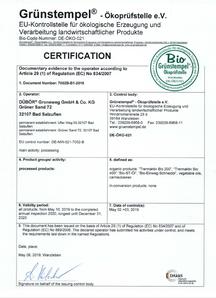Bio Grünstempel – DE Öko 021, DÜBÖR, Zertifikat, DÜBÖR TRENNAKTIV Bio 200, TRENNAKTIV Bio 400 Bio, organic, Trennmittel, Backtrennmittel, release