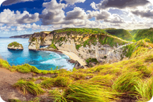 Photo panoramique de Diamond beach à Nusa Penida