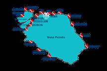 carte des sites de plongée de Nusa Penida