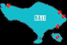 Carte des sites de plongée principaux de Bali