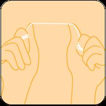 Zahnseide um die Zeigefinger wickeln und dann über die Daumen spannen. (© proDente e.V.)Dr. Udo Goedecke. Zahnarzt in Osnabrück