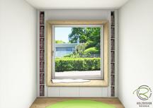 3-CAD-Planung Sitzfenster mit Bücherregal u. Schubladen von Schreinerei Holzdesign Ralf Rapp in Geisingen, Planung Nischenfenster mit Sitzgelegenheit,Modernes Holzhaus mit Sitzfenster von Schreinerei Holzdesign Ralf Rapp Geisingen mit Panorama Ausblick