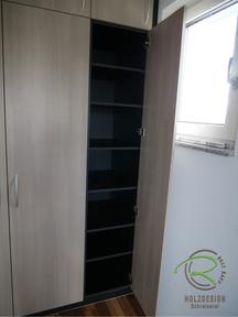Schlafzimmer Kleiderschrank unter die Dachschräge, mit Fächer für Pullover, T-Shirt, Hosen, anthrazitem Korpen