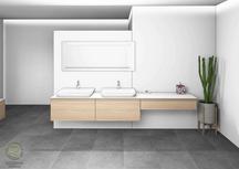 CAD-Planung Schminktisch u. Waschtisch in Eiche von Schreinerei Holzdesign Ralf Rapp in Geisingen, fotorealistische Schminktisch mit Schublade