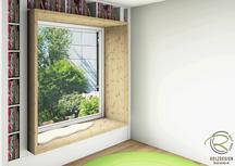 3D CAD Planung Sitzfenster mit Überstand von Schreinerei Holzdesign Ralf Rapp in Geisingen, fotorealistische CAD Planung Nischenfenster mit Sitzgelegenheit u. Überstand des Fichtenrahmens
