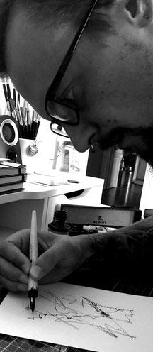 bei der Arbeit, Alex Blaschke, Tinte, Feder, Bird Inside Art