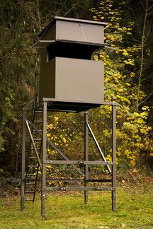 Sedlmaier Revierbedarf, Mobile Sitzkanzel für Dreipunktaufnahme, Schusshöhe 4 Meter, Jäger, Jagd, Wild, Wald