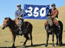 Aktivisten in der Mongolei - Eine von Hunderten von 350-Aktionen, die 2009 in der ganzen Welt stattfanden