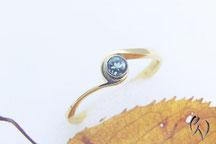 Ring Gold 750/- mit Turmalin, Handarbeit