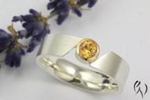 Ring Silber mit Mandaringranat und Roségold