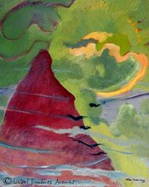 """La montaña que nunca he visto. Óleo sobre lienzo, 100 x 81 cm, 1998. Cedida para el libro: """"Calidad Farmacoterapéutica"""", Universitat de Valencia, 2006. Diseño:  Celso Hernández."""