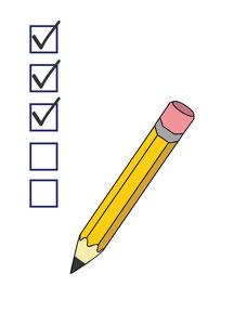 Weiße Checkliste mit Bleistift