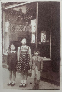 The only known photo of the C.P.C. coffee shop on Bubbling Well Road: Yamei, Yaqing and Xiangxing Zhang standing in front of their father's Café in 1945 (provided by Charles Zhang)