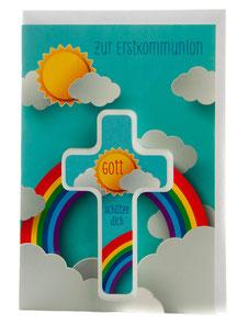 Karte zur Erstkommunion Sonne mit Regenbogen & Holzkreuz