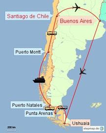 Bild: Reiseroute Argentinien und Chile 2015