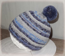 Bonnet laine gris et bleu ciel dégradé