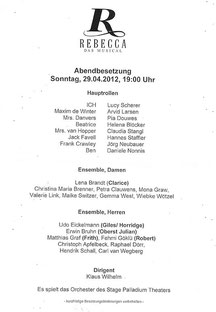 Cast list for April 29th 2012