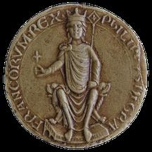 Philippus Dei gratia Francorum rex (Philippe, par la grâce de Dieu roi de France). Sceau de Philippe II Auguste, roi de France (1179-1223). Temple de Paris
