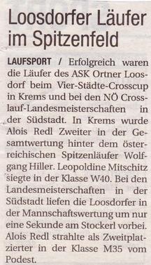 Bericht NöN Loosdorfer Läufer im Spitzenfeld