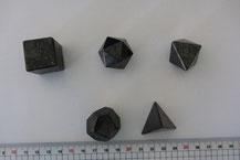 Platonische Körper Bergkristall Schungit Amethyst Tetraeder Hexaeder Oktaeder Dodekaeder Ikosaeder Dreieck Fünfeck Quadrat Kubus Würfel