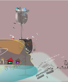 なのはな グラフィックス 手仕事 京都府 奈良県 中谷都志子 関西 フェルト作品 羊毛  フェアアイル編み ハンドウオーマー 室内履き 創作バック