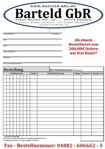 (Fax-)Bestellformular