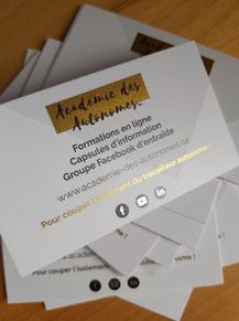 cartes d'affaires Académie des Autonomes soutien aux travailleurs autonomes francophones du Québec