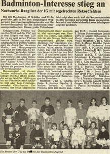 WZ vom 11.12.1990 Wuppertaler Ranglistenturnier Jugend Einzel